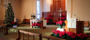Alter area ready for Christmas at Trinity