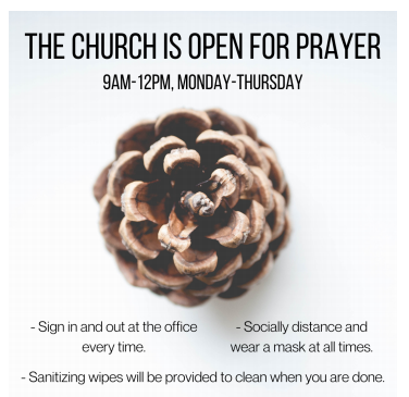 Church is open for prayer