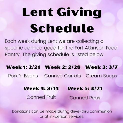 Lent giving schedule