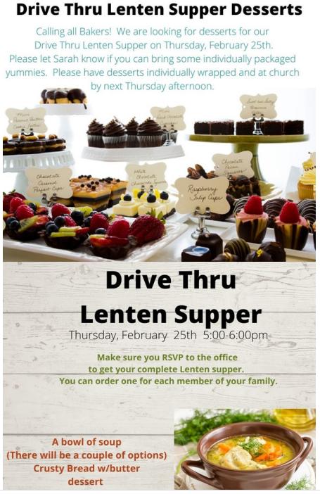 Lenten Supper Desserts