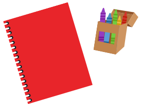 Notebook and crayons
